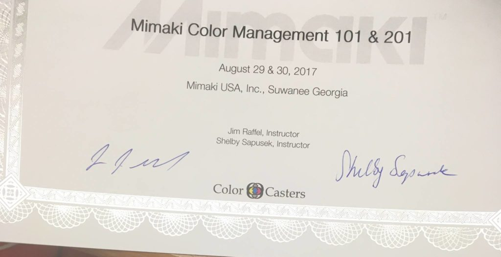 image of color management certificate of completion