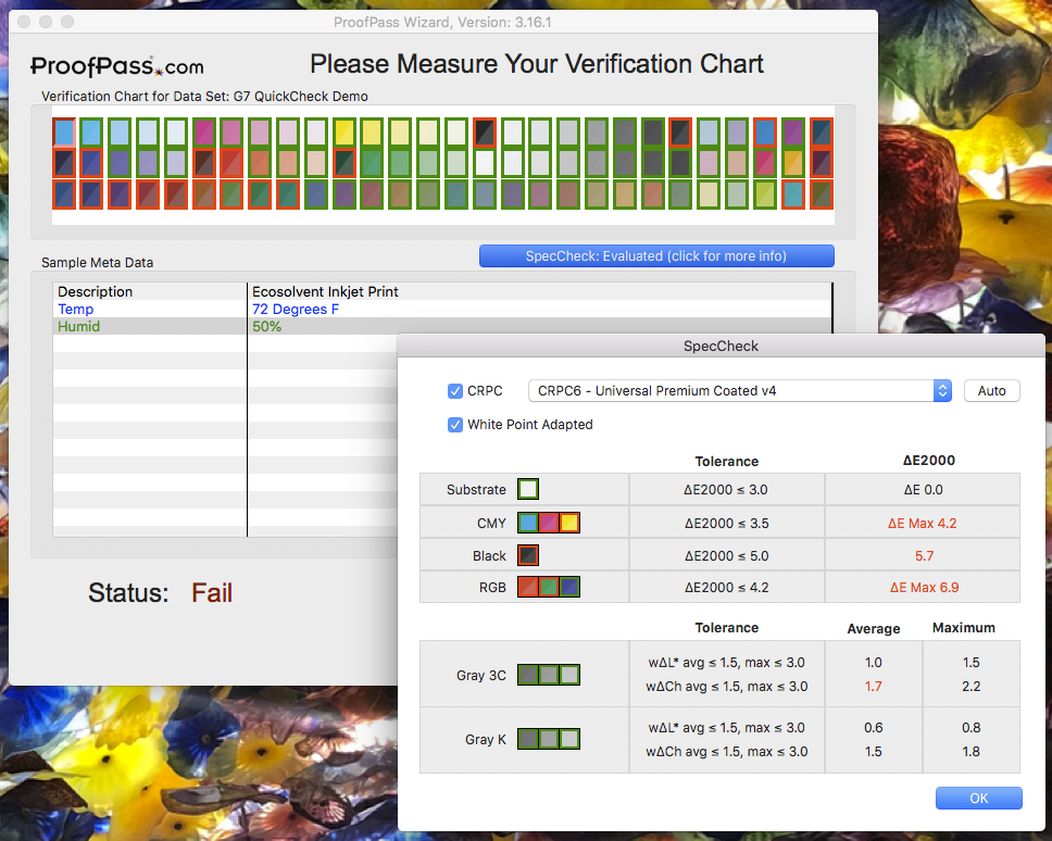 Image of ProofPass SpecCheck Fail