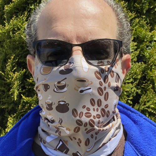 Image of ChroMasks Gaiter style face covering coffee design