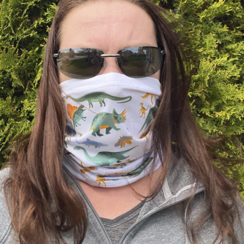 Image of ChroMasks Gaiter style face coverings dino design