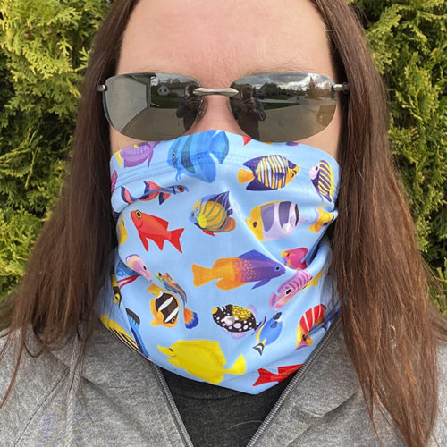 Image of ChroMasks Gaiter style face coverings fish with full color background design