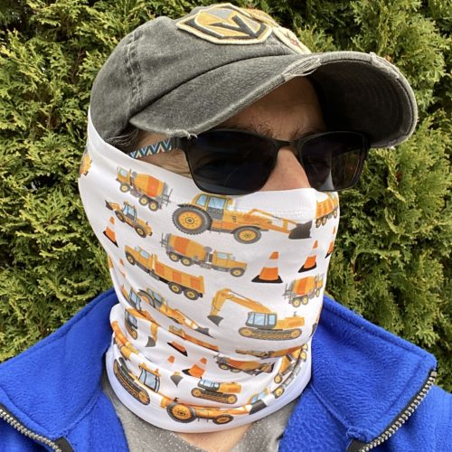 Image of ChroMasks Gaiter style face covering construction trucks style
