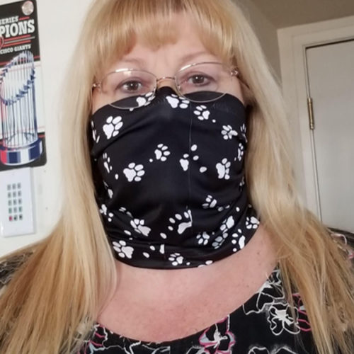 Image of ChroMasks Gaiter Style Face Covering in Paw Prints Design