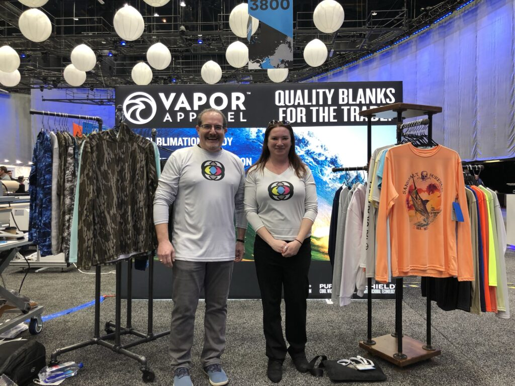 Image of Jim and Shelby at Vapor Apparel Booth